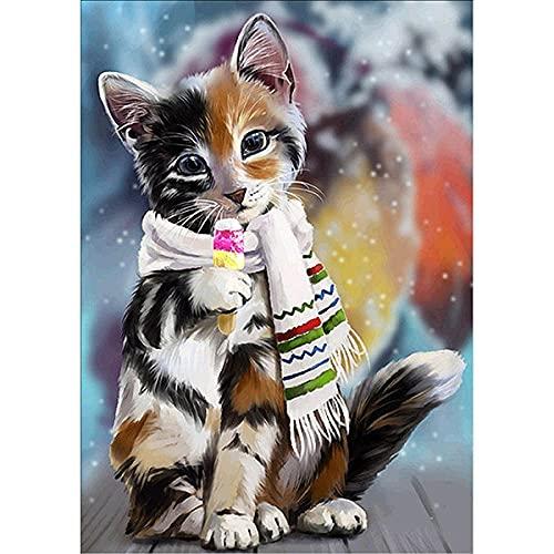 ZMGYA Tapete para Enrollar Puzzles Cat with scarf-3000 Puzzles de cartón Educativo de Aprendizaje para Regalo de cumpleaños niños y niñas Obra de Arte de Juego de Rompecabezas para Adultos