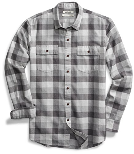 Goodthreads Standard-Fit Long-Sleeve Tri-Color Buffalo Plaid Herringbone Shirt Hemd, Medium Grey Heather, Large