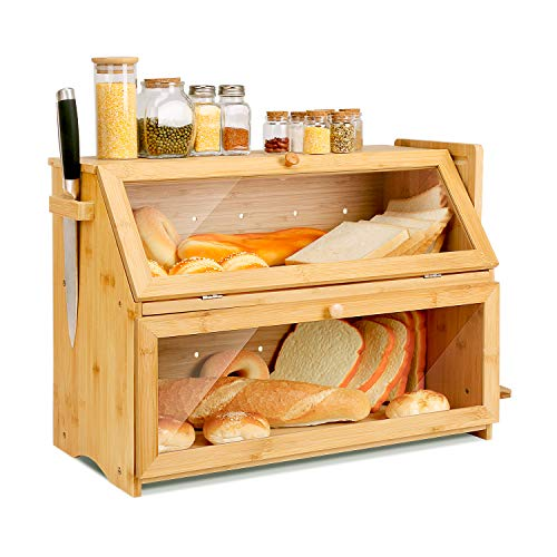 Double Oversized Bread Box Two-layer Extra Large Bread Box for Kitchen Counter Wooden Large Capacity Bread Storage Bin with Cutting Board