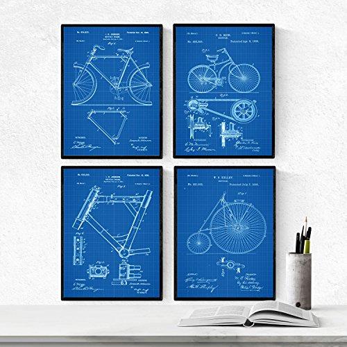 BLAUW - Pak van 4 vellen met gepatenteerde FIETSEN. Maak posters met uitvindingen en oude patenten. Kies de gewenste kleur. Gedrukt op hoge kwaliteit 250 gram. Nacnic