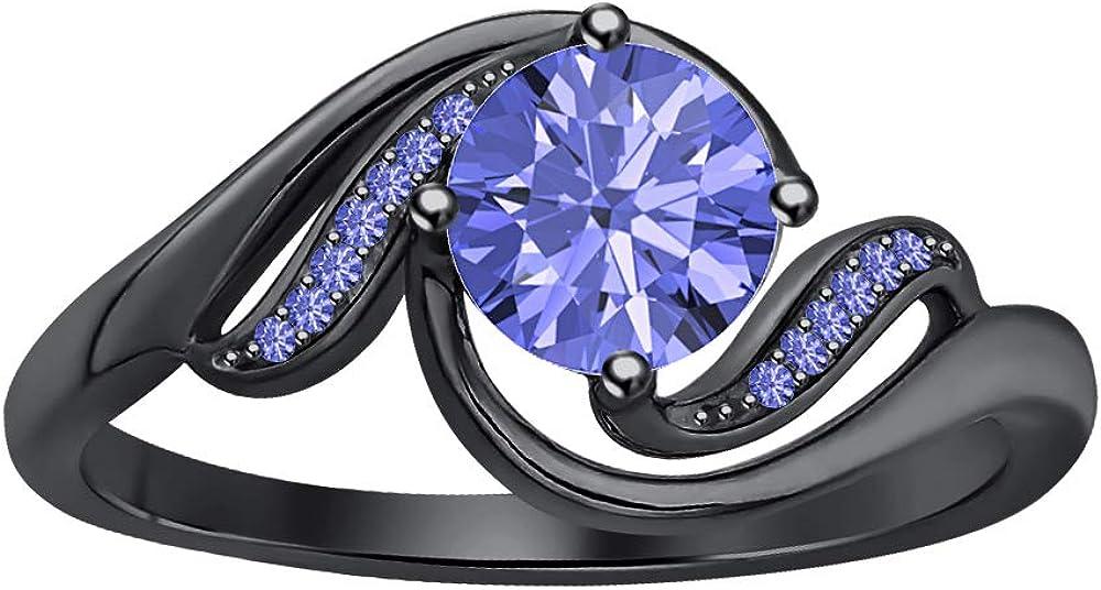 RUDRAFASHION 2 Carat Super intense SALE Round Cut Blue Pla Black Tanzanite 14K Gold 5 ☆ popular