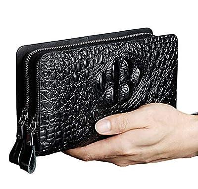 Alligator Pattern Clutch bag Handbag Large Capacity Zipper Leather Men Card Wallets