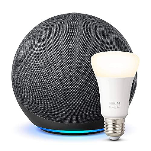 Echo (4ª generazione) - Audio di alta qualità - Antracite + Philips Hue Lampadina Connessa (E27), compatibile con Alexa
