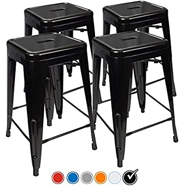 UrbanMod 24 Inch Bar Stools Set of 4 by Black Bar Stool with 330LB Capacity! Black Stools For Kitchen Counter Height, Indoor Bar, Outdoor Bar and More! Metal Bar Stools, Strong Galvanized Steel