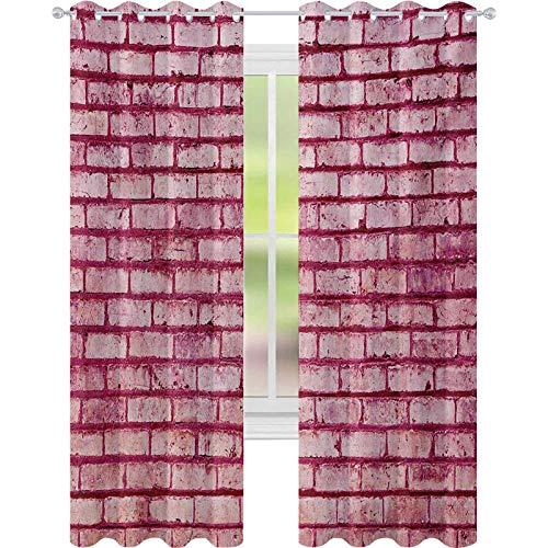 cortinas de dormitorio, Viejo ladrillo de la pared de la textura de la imagen escombros áspero grunge fachada material de construcción de azulejos, W52 x L84 cortinas para dormitorio, rosa magenta