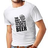 lepni.me Camisetas Hombre Tener Miedo de no Tener una Cerveza - para la Fiesta, Bebiendo Camisetas (X-Large Blanco Negro)