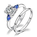 JewelryPalace 3 Pietra 2,1 ct Cubic Zirconia Creato Zaffiro Blu Da Sposa Anello Di Fidanzamento Set Da Sposa In Argento 925