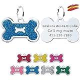 FUSIYU Placa Chapa Medalla, Etiquetas de Identificación de Mascotas Etiquetas de Perro Personalizada Grabado para Collar Perro Gato Mascota Grabada Brillantitos Aleación de Zinc, Hueso, Azul