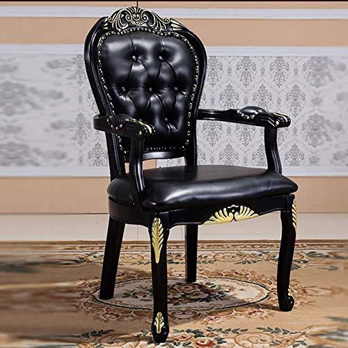 HYY-YY Esszimmerstühle Küchentheke aus schwarzem Leder Stuhl Holz geschnitzt Gold-Dining Chair Büro Negotiation Stuhl, Schreibtisch, Stuhl Montag einfach im 2er-Pack (Farbe: Schwarz, Größe: 62x52x109c