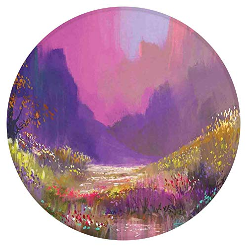Flower Round Area Rug,Oil Painting Style Colorful Summer Garden with Flowers Greenery Forest Art,for Living Room Bedroom Dining Room,Round 3'x 3',Pink Purple Green