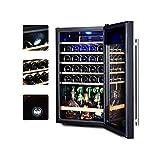 WSMLA Enfriador de vino y refrigerador independiente Enfriador de vino nevera de acero inoxidable con puerta de vidrio cigarro gabinete del refrigerador de vino constante la temperatura del refrigerad