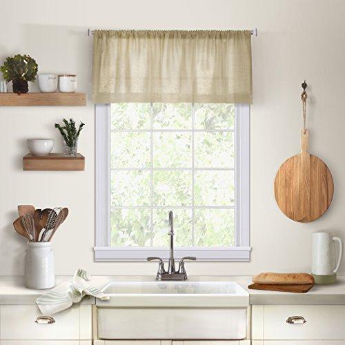 "Elrene Home Fashions Cameron Solid Hemstitched Rod Pocket Kitchen/Cafe Window Valance, 60"" W x 15"" L (1, Linen"