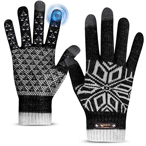 Winter Gloves, Winter Gloves for Men and Women, Touch Screen Gloves for Texting Thermal Gloves for Running Anti-Slip Warm Knit Gloves Elastic Cuff