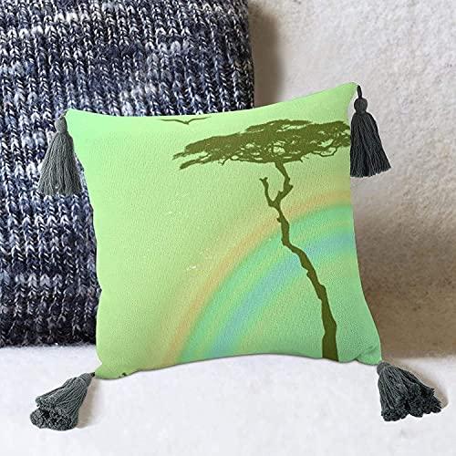 Gouache - Funda de cojín con ilustración de árbol de Sabana arcoíris para sofá Cama, Estilo Blanco, 2 Funda de Almohada de 10 x 10 Pulgadas con borlas, Fundas de Almohada