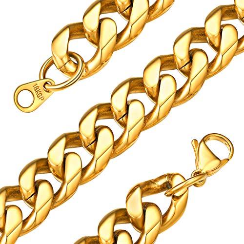 GoldChic Jewelry 12 mm gouden ketting voor mannen, Miami Curb Man ketting, 316L roestvrijstalen dikke schakel