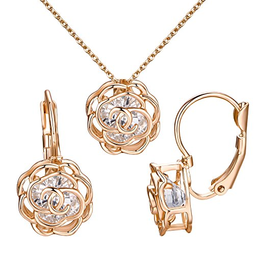 Yoursfs Leverback orecchini Set rosa filigrana orecchini collana intarsio Australia 18ct Rose Gold Plated donne elegante collana Set per matrimonio sposa