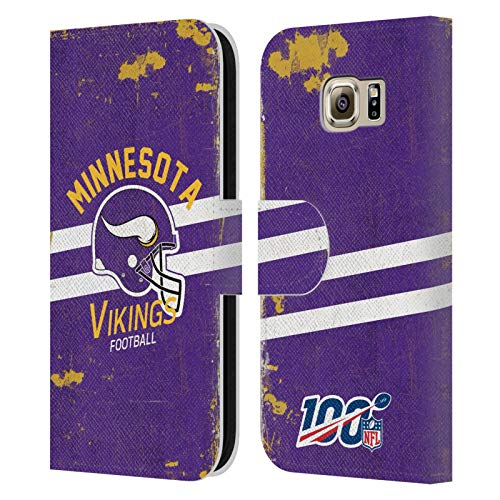Head Case Designs Oficial NFL Casco Distressed Look 100th 2019/20 Vikingos de Minnesota Carcasa de Cuero Tipo Libro Compatible con Samsung Galaxy S6