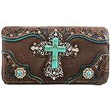 Zelris Turquoise Rhinestone Cross Western Women Crossbody Wrist Trifold Wallet (Brown)