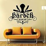wZUN Barber Shop Corte de Pelo para Hombres Navaja Recta calcomanía de Pared Vinilo diseño decoración Pegatina barbería Logo Wallpaper 56X42cm