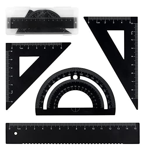 Metalica Geometría Set,4 piezas,15CM Reglas Escolares,60° Escuadra y Cartabon,45° Escuadra y Cartabon,180° Transportador de Angulos, Herramienta de Geometría Matemática (Negro)