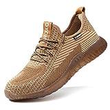 R-Win Zapatillas de seguridad para hombre con puntera de acero para mujer, zapatos de trabajo, botas de senderismo, color negro, azul caqui gris EUR36-EUR48, color, talla 43 EU