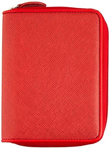 MIQUELRIUS - Agenda Anillas Integral Planificador 2021 - Cubierta Símil Piel Grabado, Cierre Cremallera, Anualidad Día Página, Catalán, Tamaño 80 x 125 mm, Color Rojo
