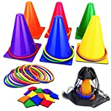 unanscre 31PCS 3 in 1 Carnival Outdoor Games Combo Set for Kids, Soft Plastic Cones Bean Bags Ring Toss Game, Gift for Birthday Party/Xmas