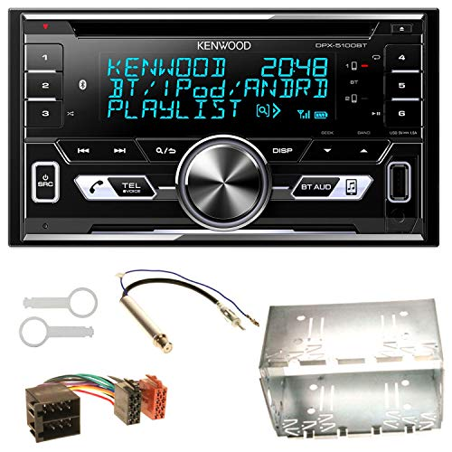 Kenwood DPX-5100BT Bluetooth USB MP3 Autoradio CD AOA2.0 Doppel Din Einbauset für Golf 4 Passat Polo Ibiza 6L