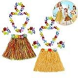 2 Sets Falda de Hierba Hawaiana con Elástica Flores Disfraces Guirnalda Diadema Pulsera Collar para Niñas Mujer Fiesta Hula Luau Accesorio