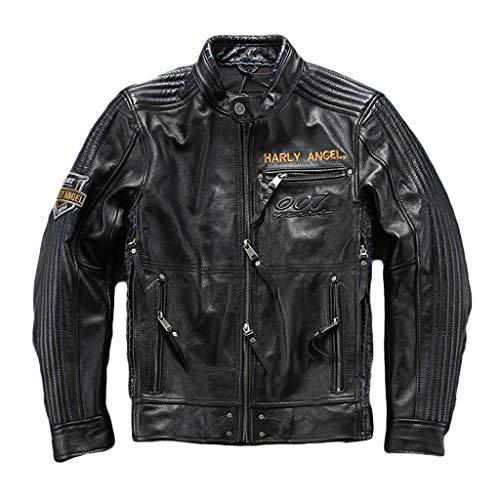 Mens Herbst-Winter-Motorrad-echte Leder-Jacke Herren Schwarz Racing Biker Mantel Motorrad-Chopper Harley Art Wasserdicht Top,Black-XL