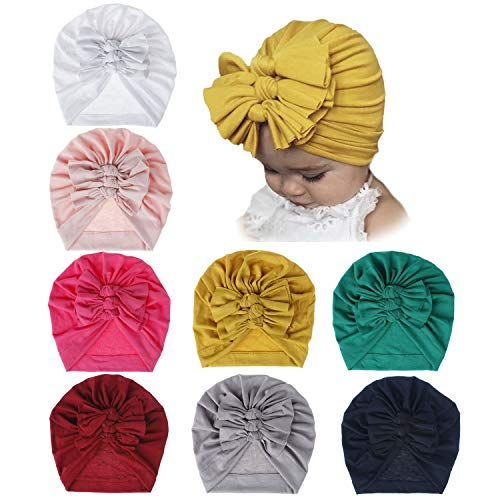 inSowni 8 Pack Solid Nursery Hospital Turban Hat Cap Beanie Bonnet with Knot Bow for Baby Girls Toddlers Newborns Infants