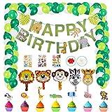 Herefun Selva Fiesta de Cumpleaños Decoracion, Fiesta de Jungla Deco Selva Animales Niños Decoración Decoración de Cumpleaños con Globos de Temáticos de la Selva