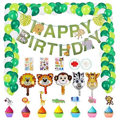 Herefun 49 Pièces Décoration Anniversaire Ballons Animaux Jungle Décorations Thème Forêt Joyeux Decoration pour Zoo Thème Animal Fête d'anniversaire Décorations