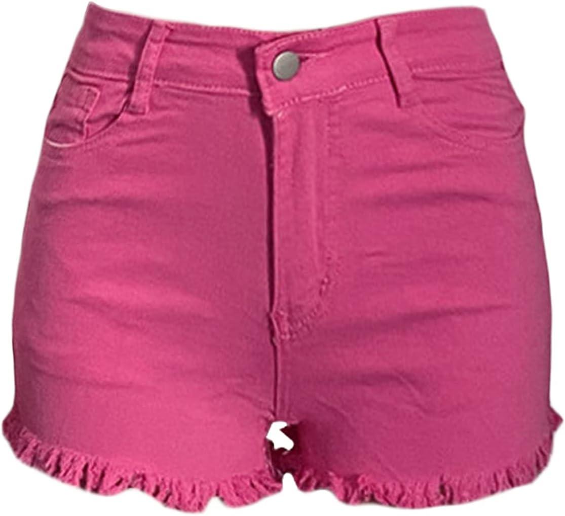 High Waist Cut Off Denim Shorts for Women Casual Stretchy Frayed Hem Short Jeans Sexy Distressed Summer Jean Shorts (Pink,Medium)