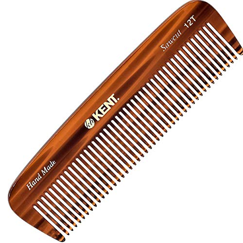"""Kent 12T Handmade Medium Size Teeth for Thick/Coarse Hair Comb for Men/Women - For Grooming, Styling, and Detangling (5"""" / 146mm)"""