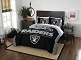 Oakland Raiders - 3 Piece FULL/QUEEN Size Printed Comforter Set - Entire Set Includes: 1 Full/Queen Comforter (86' x 86') & 2 Pillow Shams - NFL Football Bedding Bedroom Accessories