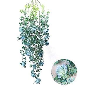 Okngr 2 Pack Artificial Hanging Plants, Fake Ivy Vine Leaves Hanging Flowers Vine Hanging Ferns Vines Outdoor Rattan Silk Flowers String Home Party Wedding Decoration, Blue