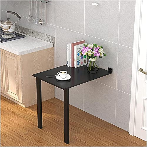 Estante de almacenamiento para mesa plegable montado en la pared, ahorro de espacio para cocina, comedor, hogar, bar (color: negro tamaño: 80 x 30 cm) - 100 x 40 cm _negro