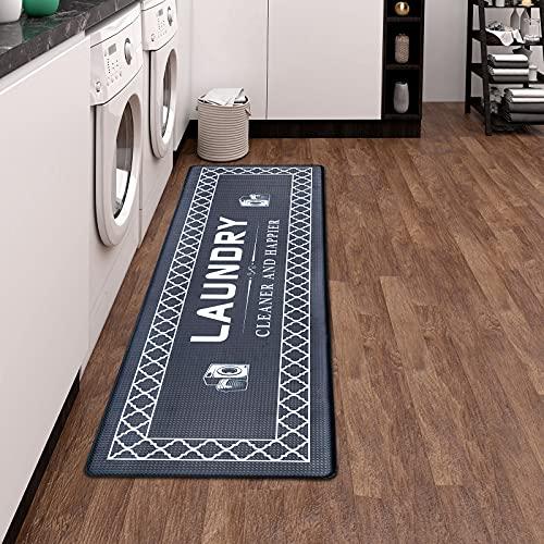 Juego de 2 alfombras de cocina, antideslizantes, de PVC, resistentes al agua, para cocina, pasillo, salón, dormitorio, cuarto de baño, vintage, geométricas (120 x 44 cm + 77 x 44 cm)
