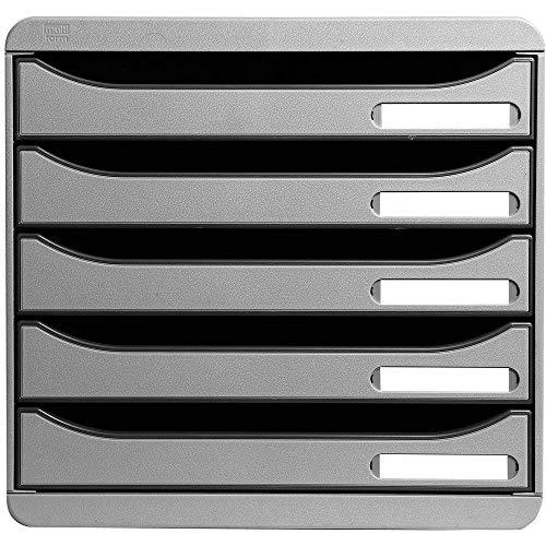 Exacompta 309740D Premium Ablagebox mit 5 Schubladen für DIN A4+ Dokumente. Stapelbare Schubladenbox mit hoher Kapazität für mehr Platz auf dem Schreibtisch Big Box Plus Office Lichtgrau