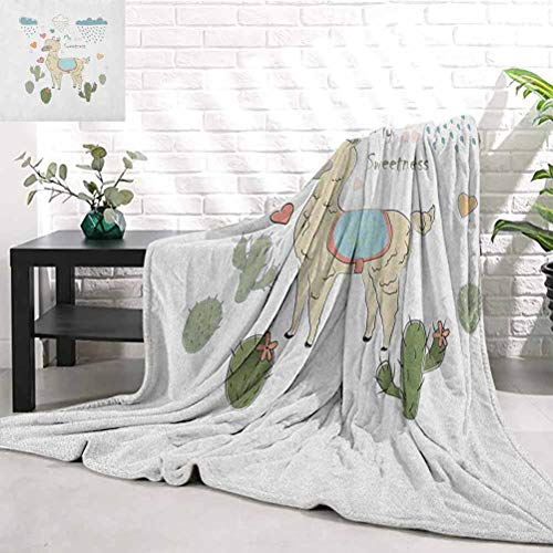 RenteriaDecor Llama,Cute Abstract Alpaca in The Rain with Cactuses Brush Strokes Effect Illustration, Multicolor Yoga Blanket W60 x L80 Inch