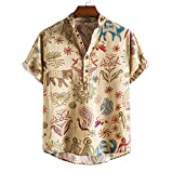 Hombre Camisas Hawaianas Funky de Manga Corta,Vacaciones de Verano Impreso Playa Camisa Informal de Hawaii