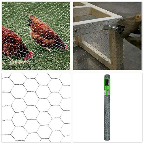 Poultry Netting Galvanized Steel Wire Chicken Fence Livestock 1in x 3 ft x 25ft