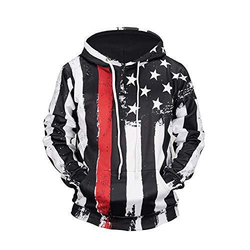 LLZGPZWY 3D Sweats Capuche Pull Sweat-Shirts Hoodie Hip Hop Homme Automne Capuche À Rayures Verticales Noir Et Blanc 3D Pull Couple Clothing, L6605A, XL