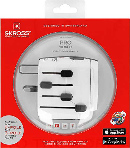 SKROSS PRO - World: 3-Pol-Reiseadapter mit patentiertem Länderschiebersystem für Reisen von und in über 220 Länder (USA, UK, Australien, China, Italien, Schweiz, Brasilien, …)