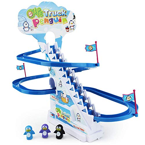 Boley Musical Penguin Roller Coaster  11 Piece Set with Tiny Penguin Toys and Customizable Race Track