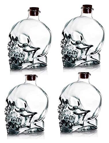 750 ml Decanter per vino, bottiglia del viso del cranio di cristallo del decantatore del whisky, vetro addensato senza piombo con tappo di sughero, robusto scotch e vodka Glass (4pcs) whisky Decanter