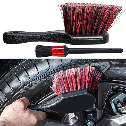 bzczh Red Short Handle Wheel & Tire Brush,Soft Bristle Car Rim Washing Brush,Cleans Dirty Tires & Releases Dirt and Road Grime,with Small Detail Brush