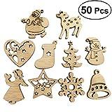 BESTOYARD Decorazioni Albero di Natale in Legno Dischi di Legno Natale Etichette Regalo 50 Pezzi (Modello Casuale)