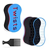 Magic Twist Hair Sponges - Twist Sponge, Sponge Brush for Hair, Hair Sponge for Curls Women and Men with 6.29 Inch Free Hair Pick (2 PACK)